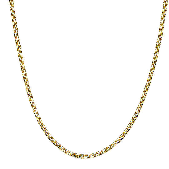 """10K Yellow Gold 24"""" Hollow Box Chain Necklace"""
