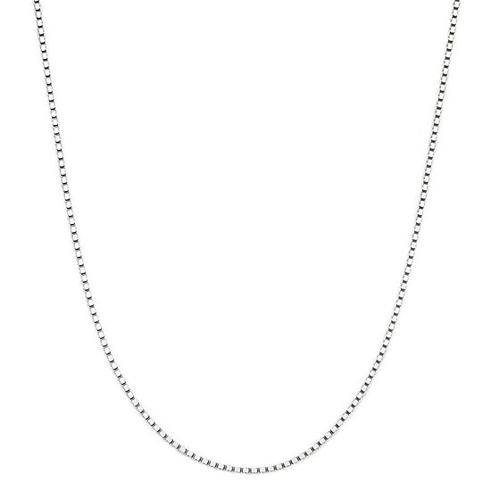 """Made in Italy 14K White Gold 18"""" Box Chain Necklace"""