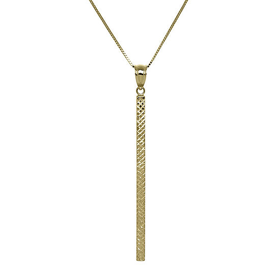 14K Yellow Gold Square Tube Bar Pendant Necklace