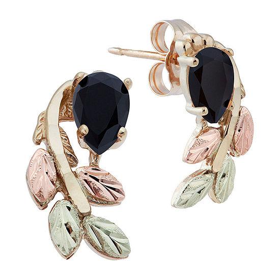 Black Hills Gold Black Onyx 10K Tri-Color Gold 1/2 Inch Flower Stud Earrings