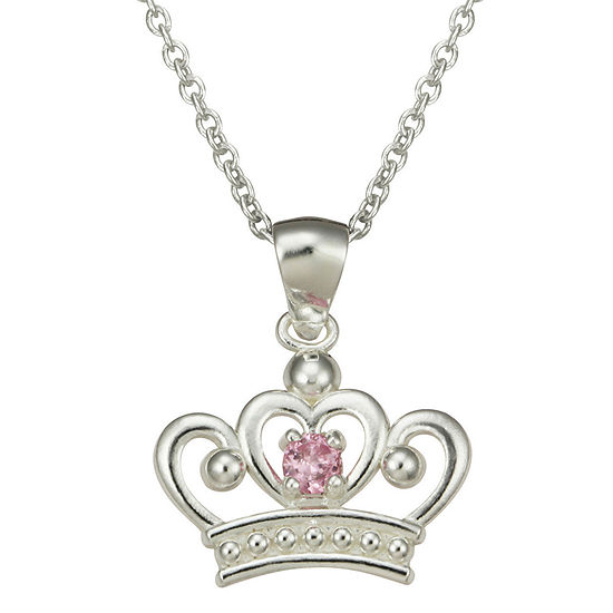 Disney Girls Pink Cubic Zirconia Princess Crown Pendant Necklace