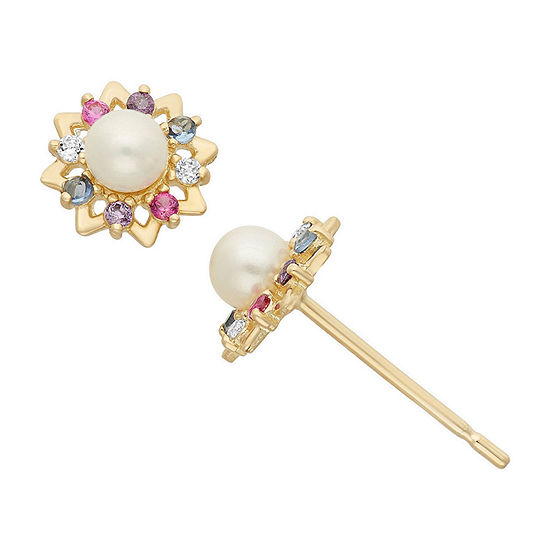 White Cubic Zirconia Cultured Freshwater Pearl 14K Gold 6mm Stud Earrings