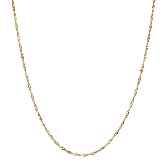 14K Gold Over Silver 15 Inch Solid Singapore Chain Necklace