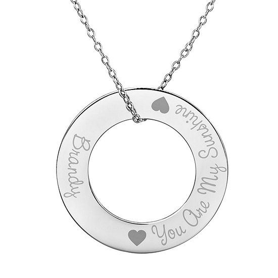 "Personalized Sterling Silver 29mm ""You Are My Sunshine"" Round Pendant Necklace"