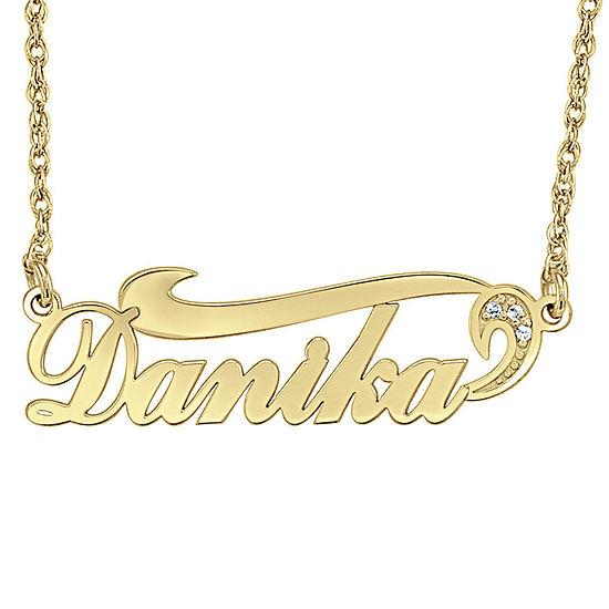 Womens Diamond Accent Genuine White Diamond 24K Gold Over Silver Pendant Necklace
