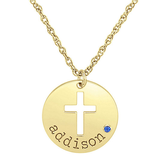 Womens Simulated Multi Color Cubic Zirconia 24K Gold Over Silver Pendant Necklace