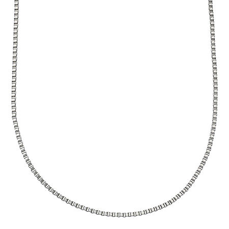 """Stainless Steel 24"""" Box Chain Necklace, One Size , White"""