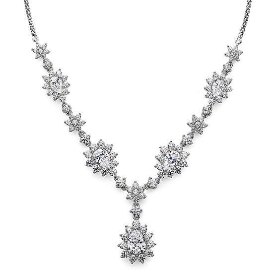 DiamonArt® Cubic Zirconia Sterling Silver Cluster Drop Necklace