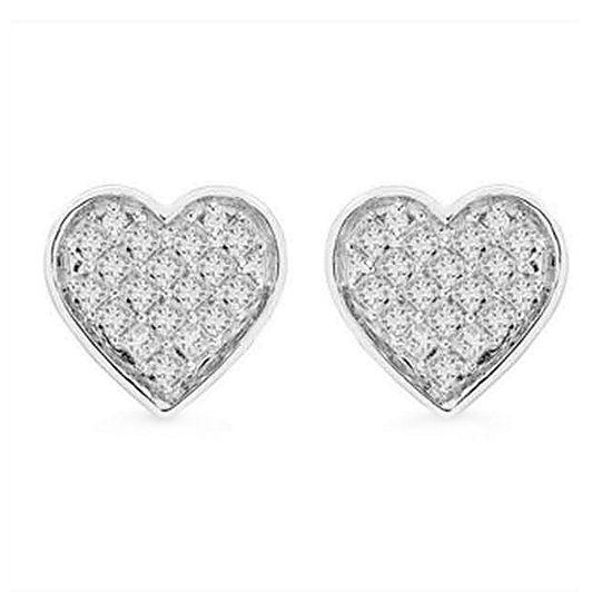 1/3 CT. T.W. Genuine White Diamond Sterling Silver 8.5mm Heart Stud Earrings