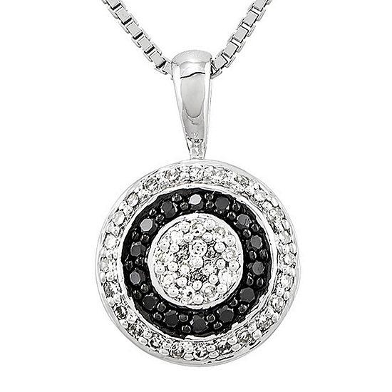 1/3 CT. T.W. White and Color-Enhanced Black Diamond Circle Pendant Necklace