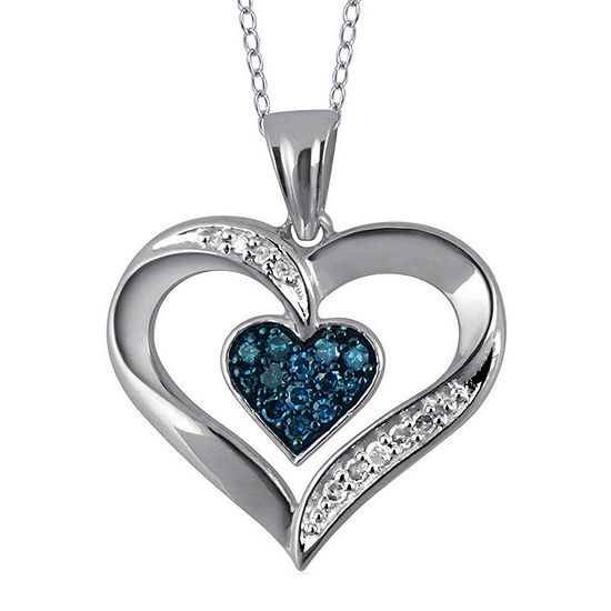 1/5 CT. T.W. White and Color-Enhanced Blue Diamond Sterling Silver Heart Pendant