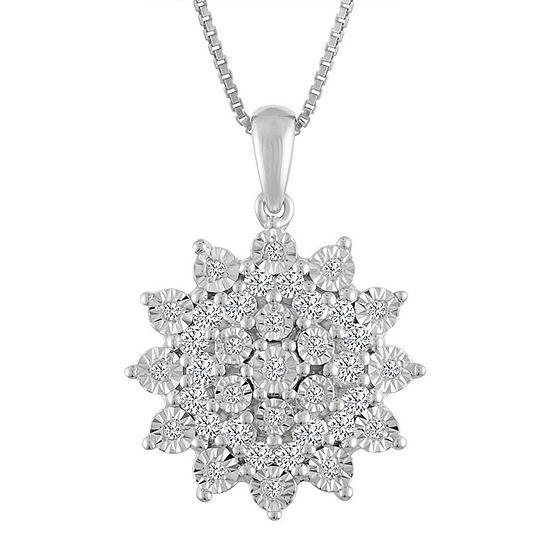 Womens 1/4 CT. T.W. Genuine White Diamond Sterling Silver Pendant Necklace