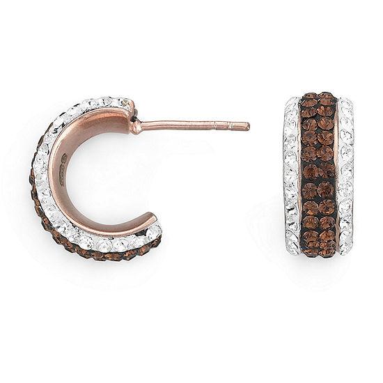 Rose 'N Chocolate Crystal Hoop Earrings