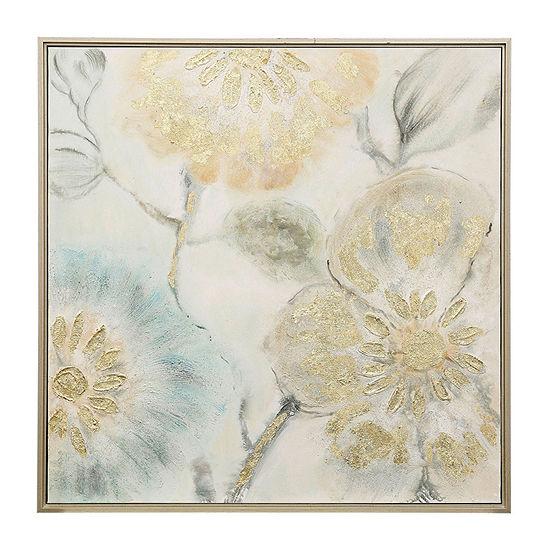 Stylecraft Tulip Tree Blooms Gold Framed Wood Canvas Art