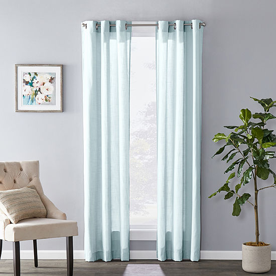 Sunsafe Raine Pattern Light-Filtering Grommet-Top Single Curtain Panel