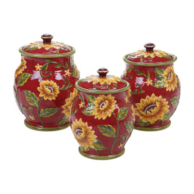 Certified International Sunset Sunflower 3-pc. Canister