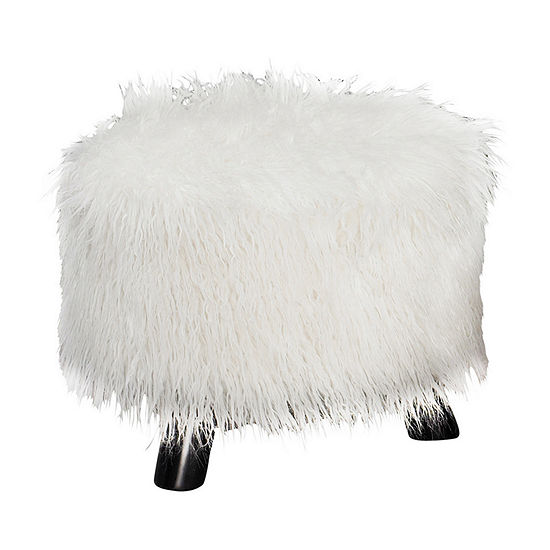 "16"" Wide White Faux Fur Foot Stool"