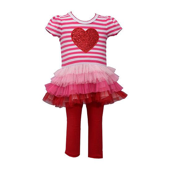 Bonnie Jean Valentines Day Girls 2-pc. Legging Set-Baby