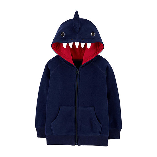 Carter's Shark Boys Hooded Neck Long Sleeve Embroidered Cardigan - Baby