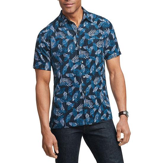 Van Heusen Mens Short Sleeve Cooling Leaf Button-Front Shirt