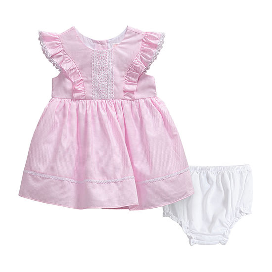 Youngland Baby Girls Sleeveless Flutter Sleeve Striped A-Line Dress