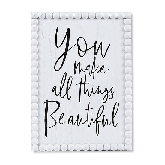 10x14 You Make All Things Beautiful Beaded Wall Sign