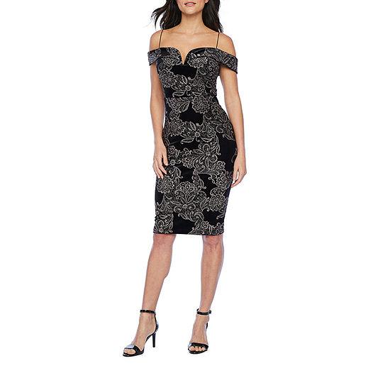 Premier Amour Cold Shoulder Floral Glitter Sheath Dress