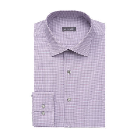 Van Heusen Big & Tall Mens Stain Shield Wrinkle Free Stretch Dress Shirt, 17.5 35-36, Purple