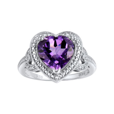 Genuine Amethyst & Diamond Accent Heart Ring