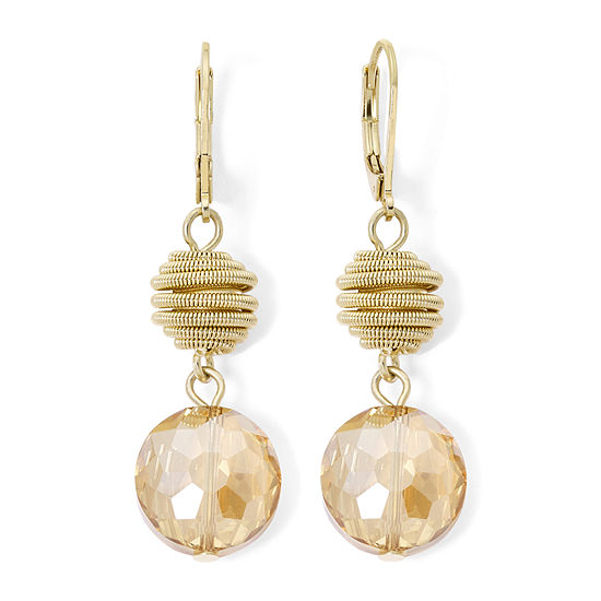Monet® Yellow Stone Gold-Tone Double-Drop Earrings