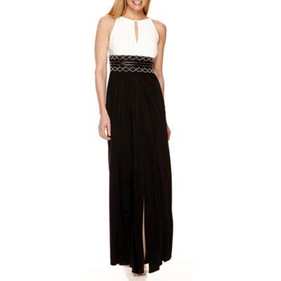 R&M Richards Beaded Formal Halter Gown