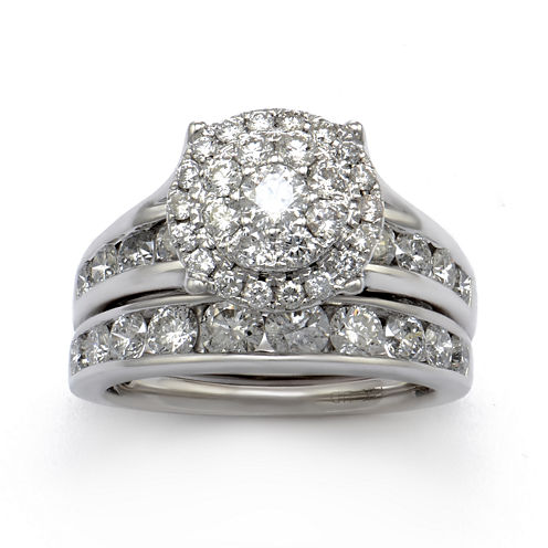 LIMITED QUANTITIES 3 CT. T.W. Diamond 14K White Gold Bridal Ring Set