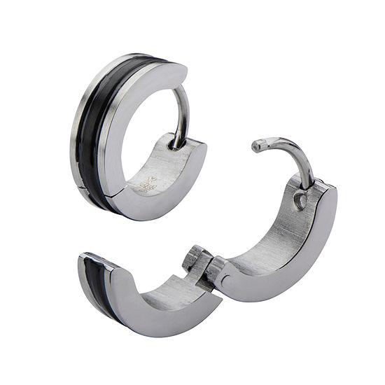 Stainless Steel and Black IP 12.7x4mm Huggie Hoop Earrings
