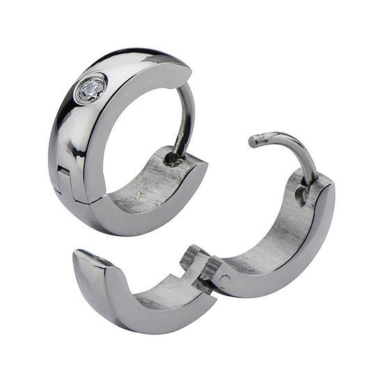 Stainless Steel with Cubic Zirconia 12.7x4mm Huggie Hoop Earrings