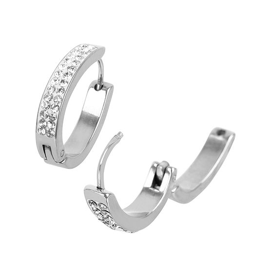 Cubic Zirconia Stainless Steel 20mm Hoop Earrings