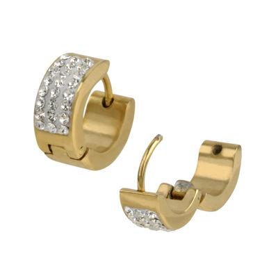 Cubic Zirconia Yellow IP Stainless Steel Huggie 12.7mm Hoop Earrings