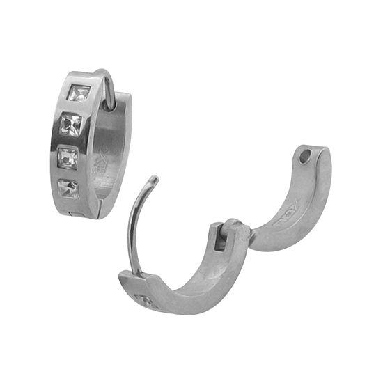 Cubic Zirconia Stainless Steel Huggie 12.7mm Hoop Earrings