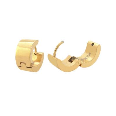 Stainless Steel and Yellow IP 12.7x6.8mm Huggie Hoop Earrings