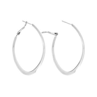 Stainless Steel 50x1.59mm Oval Hoop Earrings