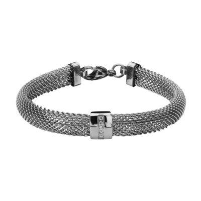 Stainless Steel with Cubic Zirconia Mesh Bracelet