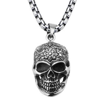 Stainless Steel Flower Skull Pendant Necklace