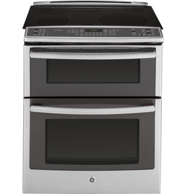 """GE Profile™ 30"""" 6.6 Cu. Ft. Slide-In Double Oven Electric Range with Convection"""