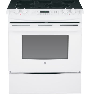 "GE® 30"" Slide-In Front Control Electric Range with Convection"
