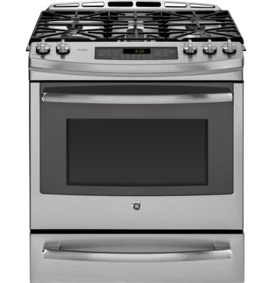"GE Profile™  30"" 5.6 Cu. Ft. Slide-In Gas Range with Warming Drawer"