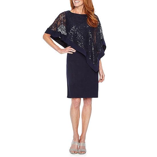 R & M Richards 3/4 Sleeve Cape Sheath Dress