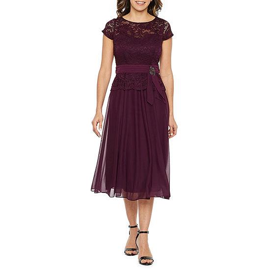 Jackie Jon Short Sleeve Peplum Dress