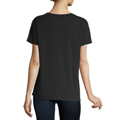 City Streets Womens Crew Neck Short Sleeve Graphic T-Shirt-Juniors