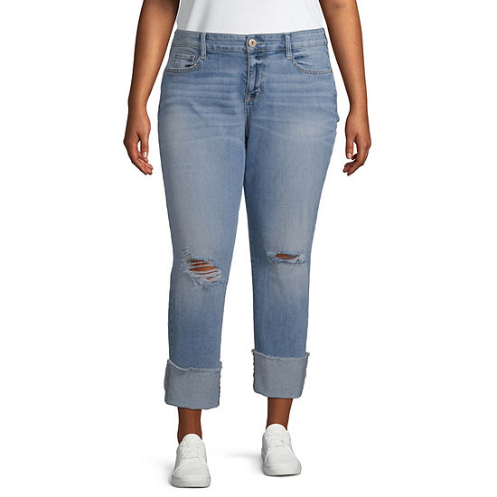 Arizona Womens Mid Rise Cuffed Cropped Jean - Juniors Plus