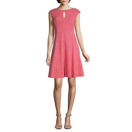 Liz Claiborne Short Sleeve Floral Fit & Flare Dress