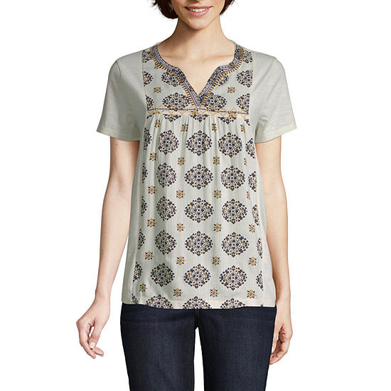 St. John's Bay Womens Short Sleeve Embroidered Blouse